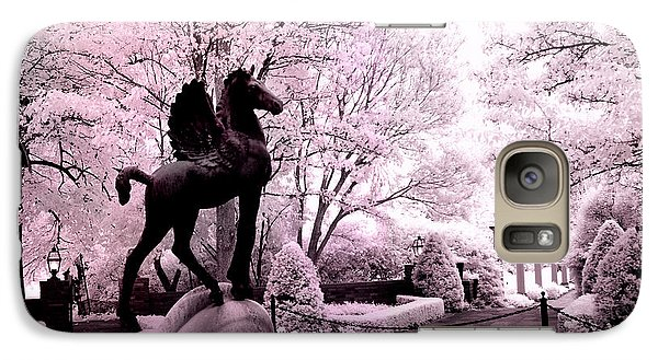 Surreal Infared Pink Black Sculpture Horse Pegasus Winged Horse Architectural Garden Galaxy S7 Case by Kathy Fornal
