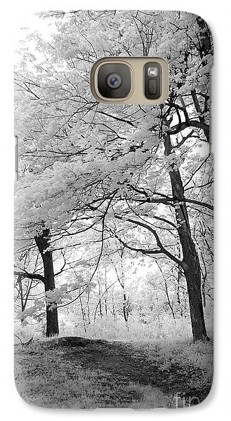 Galaxy Case featuring the photograph Surreal Infrared Black White Nature Trees - Haunting Black White Trees Nature Infrared by Kathy Fornal