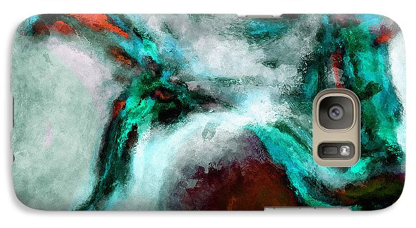 Galaxy Case featuring the painting Surrealist And Abstract Painting In Orange And Turquoise Color by Ayse Deniz