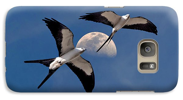 Galaxy Case featuring the photograph Swallow Tail Kites In Flight Under Moon by Justin Kelefas