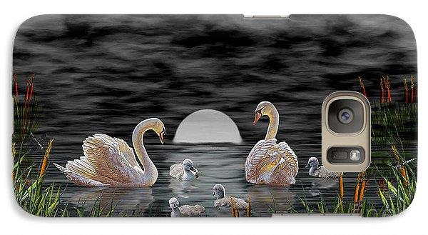 Galaxy Case featuring the digital art Swan Family by Terri Mills