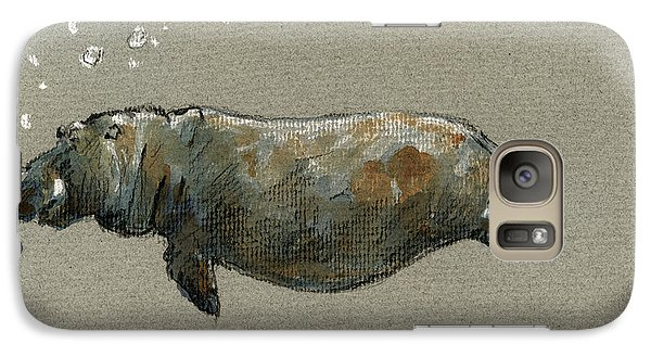 Swimming Hippo Galaxy Case by Juan  Bosco