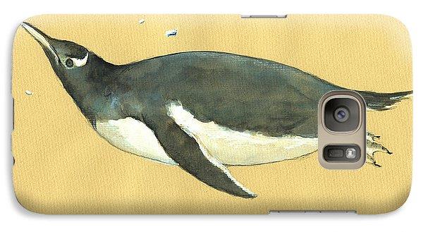 Penguin Galaxy S7 Case - Swimming Penguin by Juan  Bosco