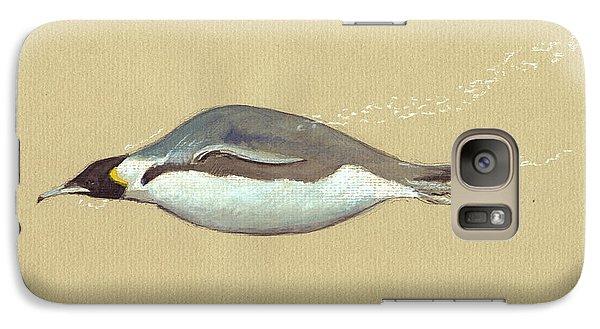 Penguin Galaxy S7 Case - Swimming Penguin Painting by Juan  Bosco