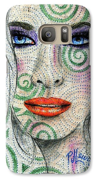 Galaxy Case featuring the drawing Swirl Girl by P J Lewis