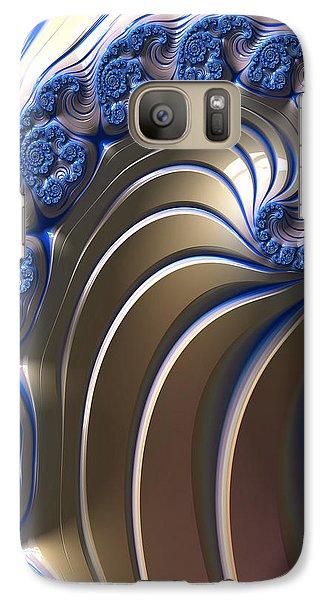 Galaxy Case featuring the digital art Swirly Blue Fractal Art by Bonnie Bruno