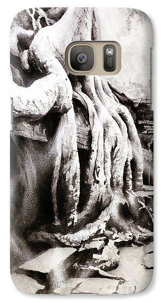 Galaxy Case featuring the painting Sycamore Tree Overgrowing Ruins- Cambodia by Ryan Fox
