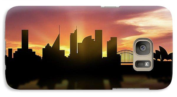 Sydney Skyline Sunset Ausy22 Galaxy Case by Aged Pixel