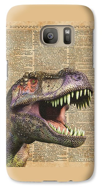 T-rex,tyrannosaurus,dinosaur Vintage Dictionary Art Galaxy Case by Jacob Kuch