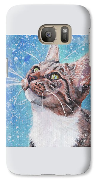 Galaxy Case featuring the painting Tabby Cat In The Winter by Lee Ann Shepard