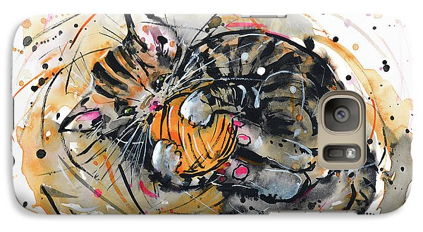 Galaxy Case featuring the painting Tabby Kitten Playing With Yarn Clew  by Zaira Dzhaubaeva