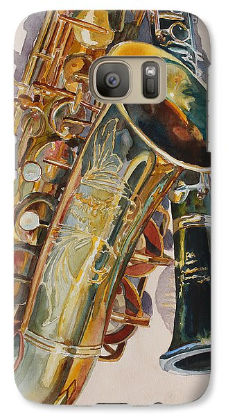 Saxophone Galaxy S7 Case - Taking A Shine To Each Other by Jenny Armitage