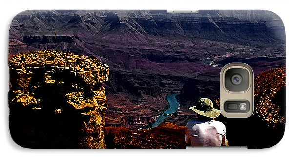 Galaxy Case featuring the photograph Taking In The View - Grand Canyon South Rim by George Bostian