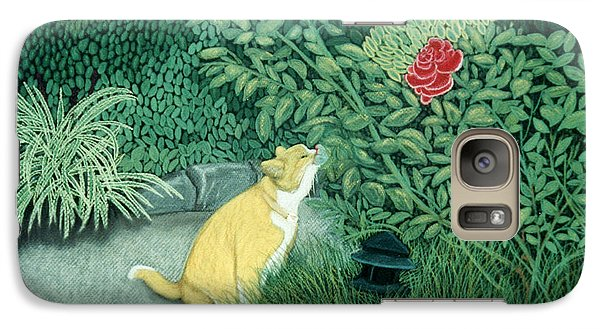 Galaxy Case featuring the pastel Taking Time To Smell The Roses by Jan Amiss
