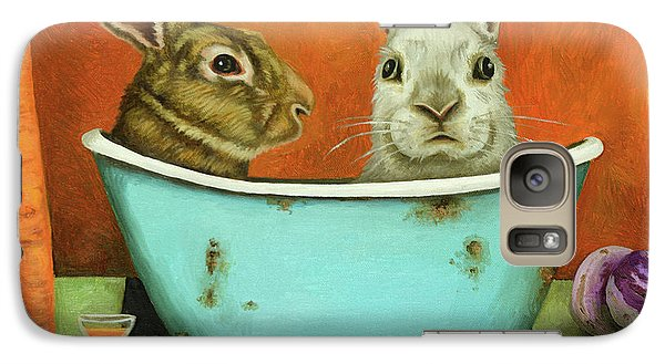 Galaxy Case featuring the painting Tale Of Two Bunnies by Leah Saulnier The Painting Maniac
