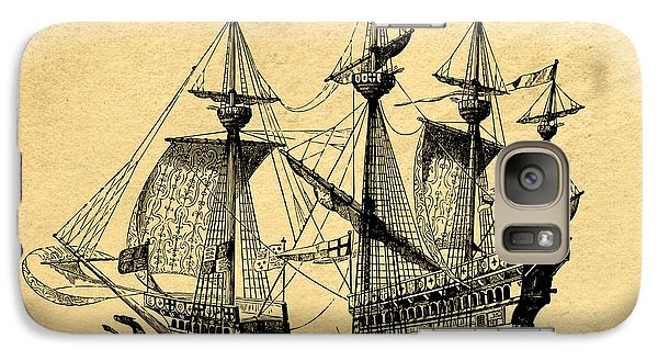 Galaxy Case featuring the drawing Tall Ship Vintage by Edward Fielding