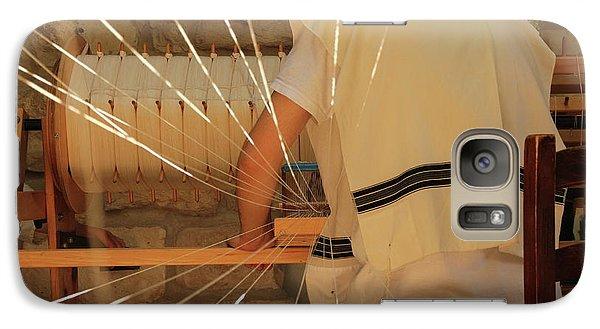 Galaxy Case featuring the photograph Jewish Prayer Shawl Weaving In Tzfat by Yoel Koskas