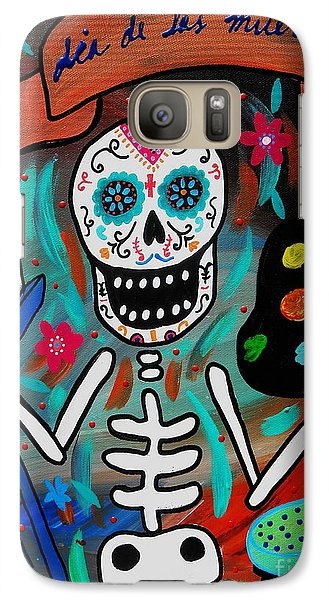 Galaxy Case featuring the painting Te Amo Painter Dia De Los Muertos by Pristine Cartera Turkus