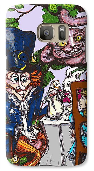 Galaxy Case featuring the drawing Tea Party by Rae Chichilnitsky