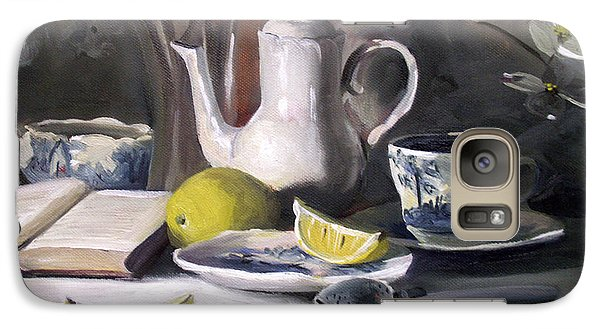 Galaxy Case featuring the painting Tea With Lemon by Nancy Griswold