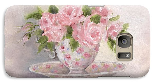 Galaxy Case featuring the painting Teacup And Saucer Rose Shabby Chic Painting by Chris Hobel