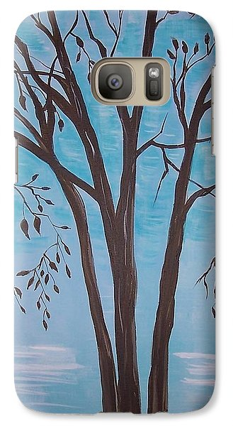 Galaxy Case featuring the painting Teal And Brown by Leslie Allen