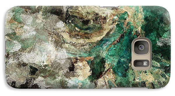 Galaxy Case featuring the painting Teal And Cream Abstract Painting by Ayse Deniz