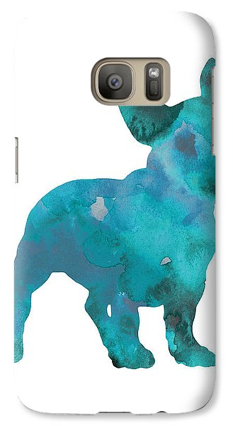 Dog Galaxy S7 Case - Teal Frenchie Abstract Painting by Joanna Szmerdt
