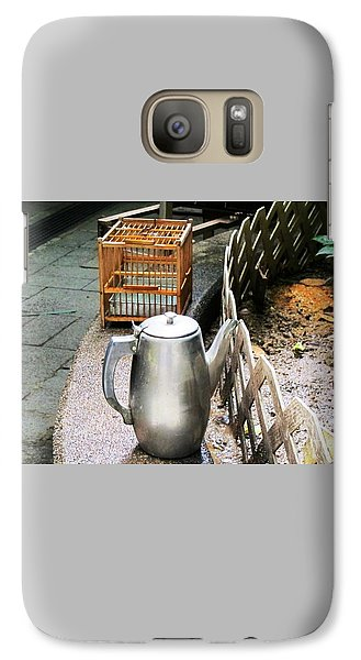 Galaxy Case featuring the photograph Teapot And Birdcage by Ethna Gillespie