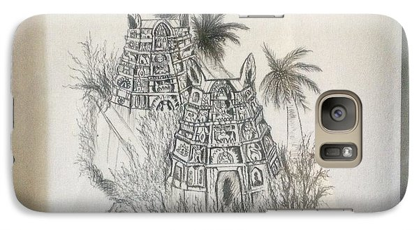 Galaxy Case featuring the painting Temple In Calligraphy Ink by Brindha Naveen