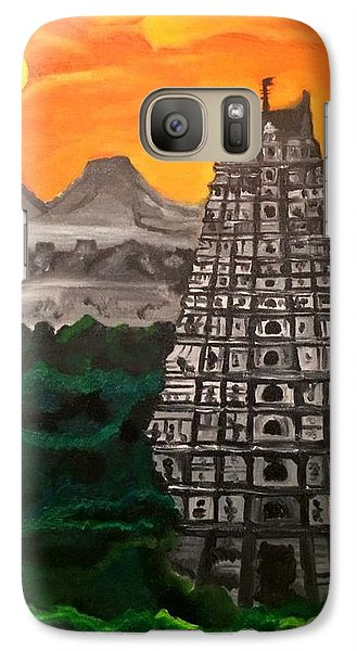 Galaxy Case featuring the painting Temple Near The Hills by Brindha Naveen
