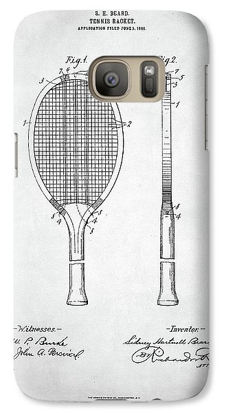 Tennis Racket Patent 1907 Galaxy S7 Case by Taylan Apukovska