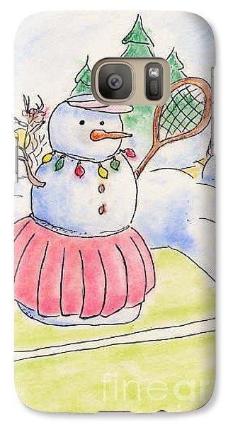 Galaxy Case featuring the drawing Tennis Snowlady by Vonda Lawson-Rosa