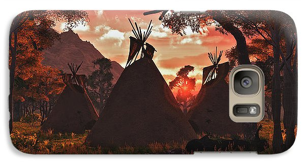 Galaxy Case featuring the digital art Tepee Sunset by Walter Colvin
