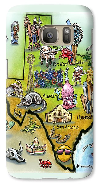 Galaxy Case featuring the digital art Texas Cartoon Map by Kevin Middleton