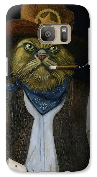 Galaxy Case featuring the painting Texas Cat With An Attitude by Leah Saulnier The Painting Maniac