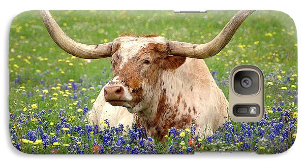 Pasture Galaxy S7 Case - Texas Longhorn In Bluebonnets by Jon Holiday