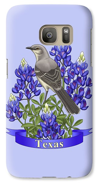 Mockingbird Galaxy S7 Case - Texas State Mockingbird And Bluebonnet Flower by Crista Forest