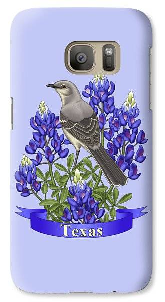 Texas State Mockingbird And Bluebonnet Flower Galaxy S7 Case by Crista Forest