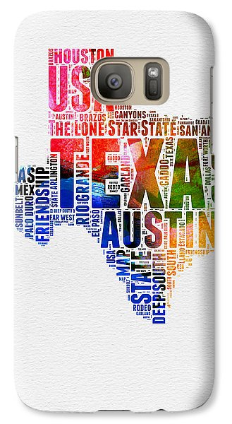 Austin Galaxy S7 Case - Texas Watercolor Word Cloud  by Naxart Studio
