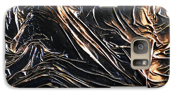 Galaxy Case featuring the mixed media Textured Black by Angela Stout