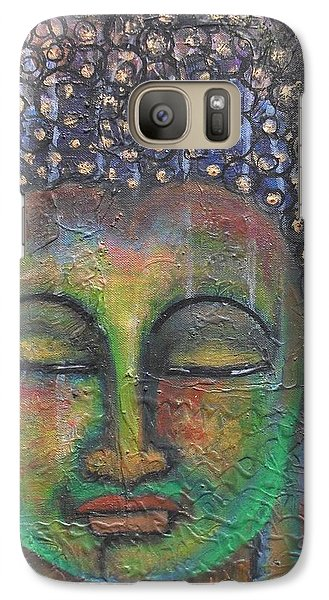 Galaxy Case featuring the painting Textured Green Buddha by Prerna Poojara