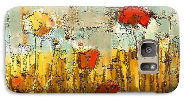 Galaxy Case featuring the mixed media Textured Poppies by Carrie Joy Byrnes