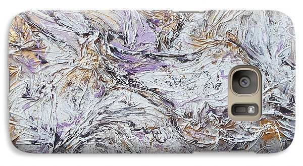 Galaxy Case featuring the mixed media Textured Purple And Gold by Angela Stout