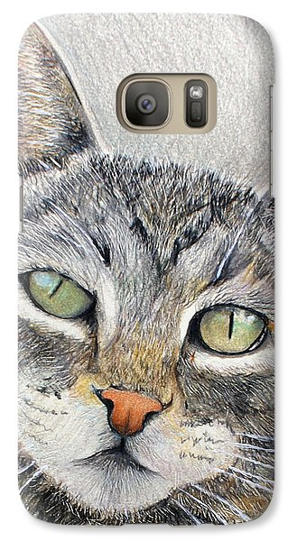 Galaxy Case featuring the drawing That Cat by Tim Ernst