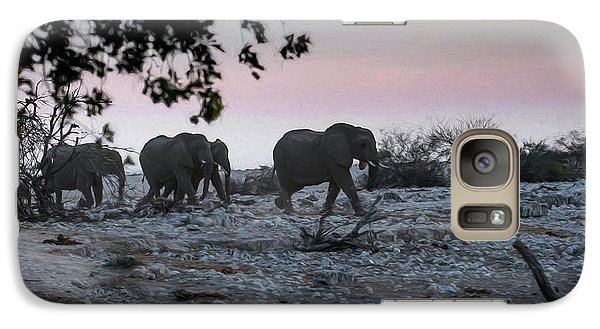 Galaxy Case featuring the digital art The African Elephants by Ernie Echols