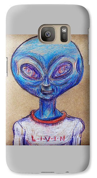 Galaxy Case featuring the drawing The Alien Is L-i-v-i-n by Similar Alien