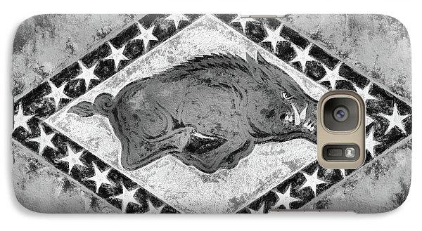 The Arkansas Razorbacks Black And White Galaxy S7 Case by JC Findley