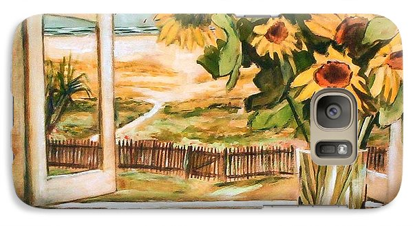 Galaxy S7 Case featuring the painting The Beach Sunflowers by Winsome Gunning