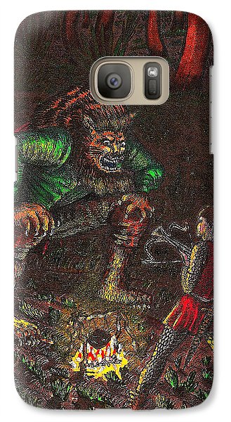 Galaxy Case featuring the drawing The Beast And Prince Meet by Al Goldfarb